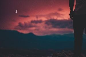 moon mountains silhouette pants